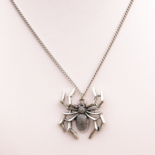 Silver Plated Spider Pendant Necklace - biker-rings.co.uk