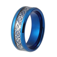 8mm Celtic Dragon Blue Silver Inlay Tungsten Carbide Band Ring - biker-rings.co.uk