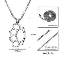 "Stainless Steel Knuckle Duster Necklace 24"" Chain"
