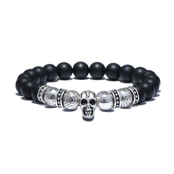 Mens Onyx Style Black Stone Bead Bracelet with Silver Tone Skull - 20cm - biker-rings.co.uk