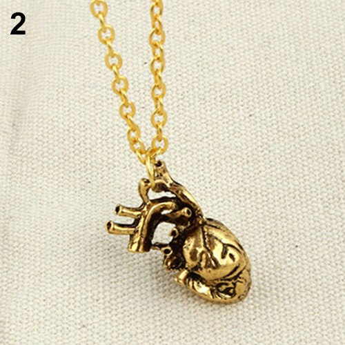 Men Retro 3D Gold Tone Anatomical Human Hollow Heart Pendant Necklace with 50cm Chain - biker-rings.co.uk