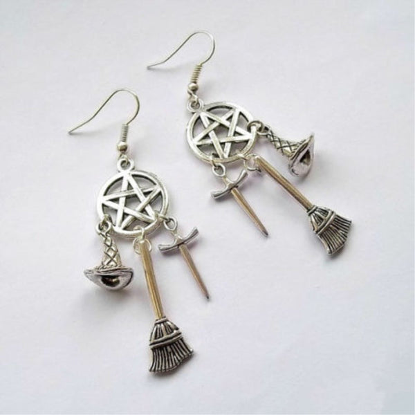 Wiccan Charm, Pagan, Witches Earrings, Sword, Witches Hat, Pentacle Drop Earring - biker-rings.co.uk