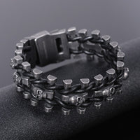Retro Black Stainless Steel Chain Skull Men's Bracelet