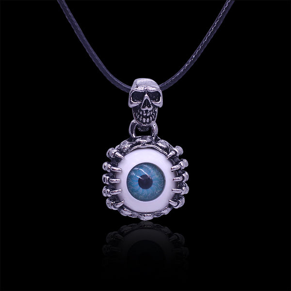 Mens Gothic Skull Blue Evil Eye Necklace - biker-rings.co.uk