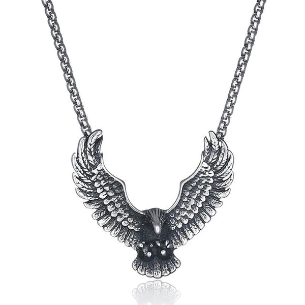 Stainless Steel Flying Eagle Pendant Necklace - biker-rings.co.uk
