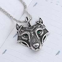 Vintage Norse Wolf Head Green Crystal Vikings Pendant Necklace - biker-rings.co.uk
