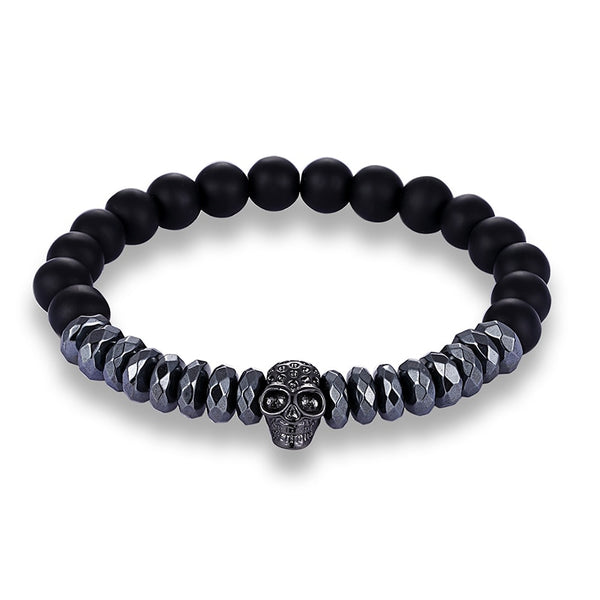 Natural Stone Gothic Skull Beaded Bracelet with Choice of Skull Colours - biker-rings.co.uk