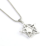 Antique Silver Tone Pentagram Skull Pendant Necklace - biker-rings.co.uk