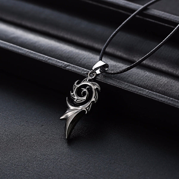 Men's Punk Dragon Flame Stainless Steel Leather Chain Pendant Necklace - biker-rings.co.uk