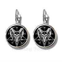 Pentagram Satanic Goats Head Glass Dome Earrings - biker-rings.co.uk