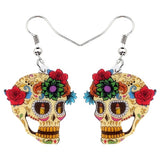 Statement Acrylic Classic Halloween Floral Skull Drop Earrings - biker-rings.co.uk