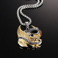 Stainless Steel Gold Eagle LIVE TO RIDE Biker Necklace
