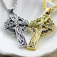 Antique Gold Tone Celtic Love Knot Cross Necklace - biker-rings.co.uk