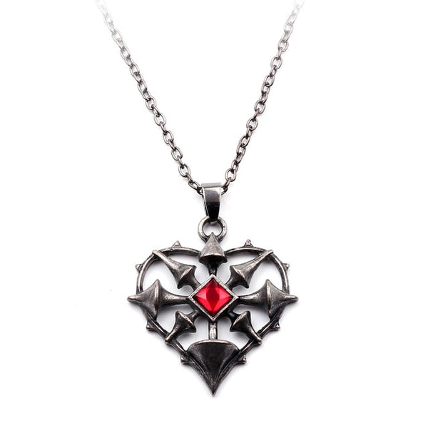 Vintage Openwork Steampunk Red Crystal Heart Shape Necklace - biker-rings.co.uk