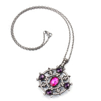 Retro Gothic Disc Necklace Purple Crystal Punk Necklace - biker-rings.co.uk