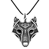 Antique Silver Effect Viking Wolf Pendant with 50cm Leather Chain - biker-rings.co.uk