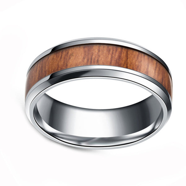 Mens Titanium Steel Black or Silver Finish Wood Grain 8MM band Ring - biker-rings.co.uk