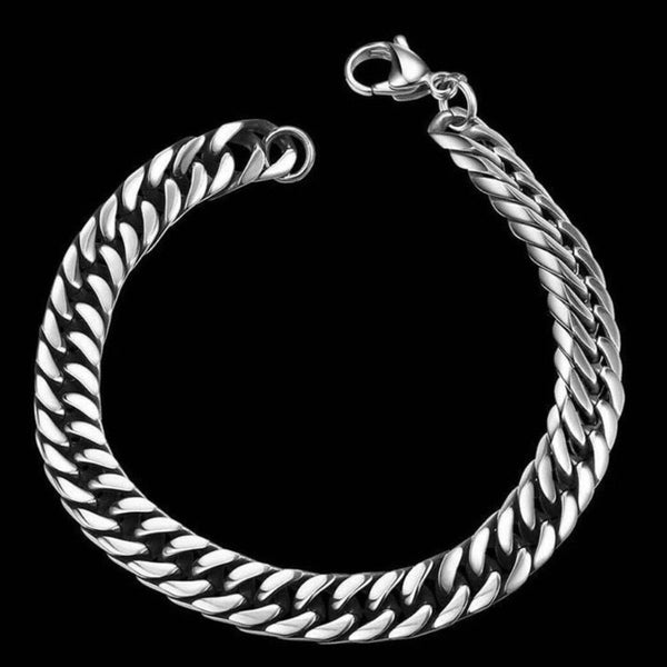 Men's Stainless Steel Silver Color Chain Link Bracelet 20.5cm - biker-rings.co.uk