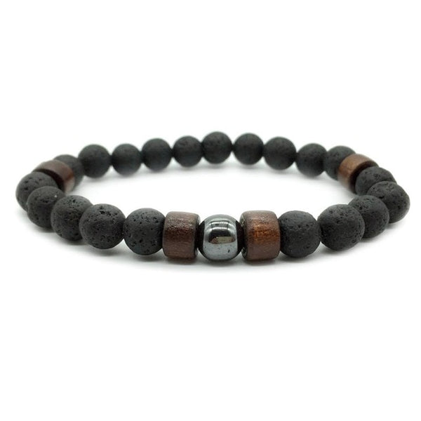 Mens Lava Stone wood and Hematite Bracelet - biker-rings.co.uk