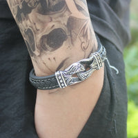 Neo-Gothic Style Stainless Steel Leather Bracelet 19-21cm