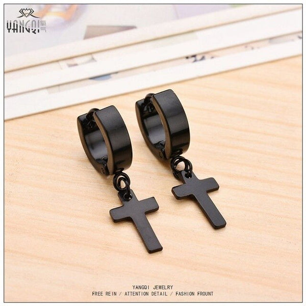Stainless Steel Black Silver Cross Design Earrings - biker-rings.co.uk