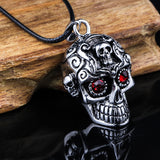 Mens Gothic Biker CZ Red Eyes Carved Skull Pendant Necklace with Black Leather Chain - biker-rings.co.uk