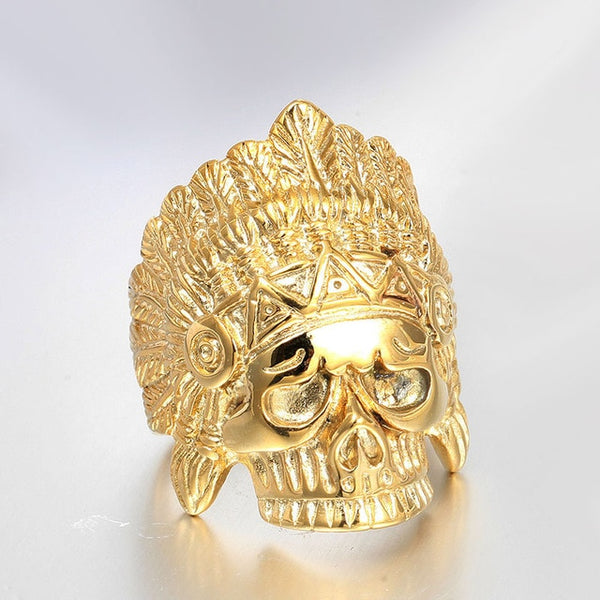 Stainless Steel Gold Color Indian chief Skull Ring