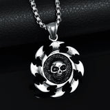 Mens Sawblade Stainless Steel Skull Necklace - biker-rings.co.uk