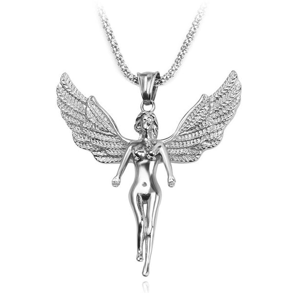Silver Plated Angel Pendant Long Chain Necklace - biker-rings.co.uk