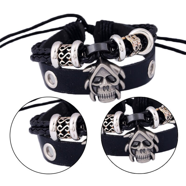 Gothic Skull Cuff Bangle Leather Bracelet Black or Brown - biker-rings.co.uk