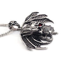 Dragon Terrified Skull Gothic Red Crystal Eye Big Pendant Necklace - biker-rings.co.uk