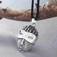 Vintage Gothic African Mysterious Mask Pendant Rope Long Chain Necklace - biker-rings.co.uk