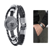 Men's Leather Poker Playing Cards Multilayer Braided Bracelet - biker-rings.co.uk