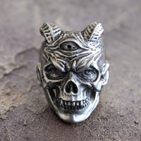 Stainless Steel Three Eyed Demon Biker Ring