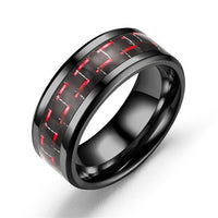 Black Stainless Steel Red Carbon Fibre 8mm Wedding Band Ring - biker-rings.co.uk