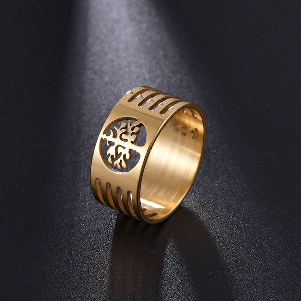 Gold Stainless Steel Wisdom Hollow Tree of Life 10mm Band Ring - biker-rings.co.uk