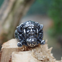 Stainless Steel Viking Berserker Warrior Shield Biker Ring