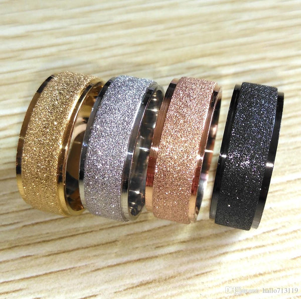 Frosted Black/Gold/Silver/Rose Gold Shiny 8MM Stainless Steel Band Rings - biker-rings.co.uk