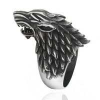 Mens Silver Tone Gothic Fantasy Dire Wolf Ring - biker-rings.co.uk