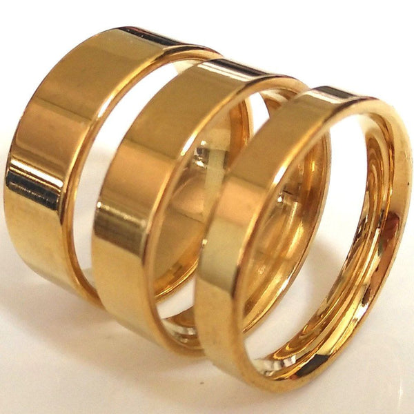 4mm 6mm 8mm Gold Stainless Steel Flat Wedding Band Ring - biker-rings.co.uk