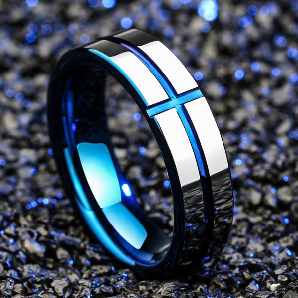 Titanium Blue Cross Silver Finish 6mm Band Ring - biker-rings.co.uk