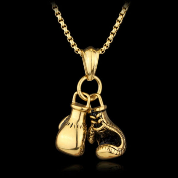 "Stainless Steel 22"" Belcher Chain Gold Boxing Glove Pendant Necklace - biker-rings.co.uk"
