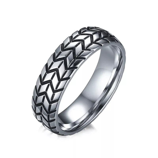 Stainless Steel Tyre Pattern Silver Tone Band Ring - biker-rings.co.uk
