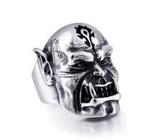 Men's Stainless Steel World of Warcraft Horde Orc Troll Band Ring Silver - biker-rings.co.uk