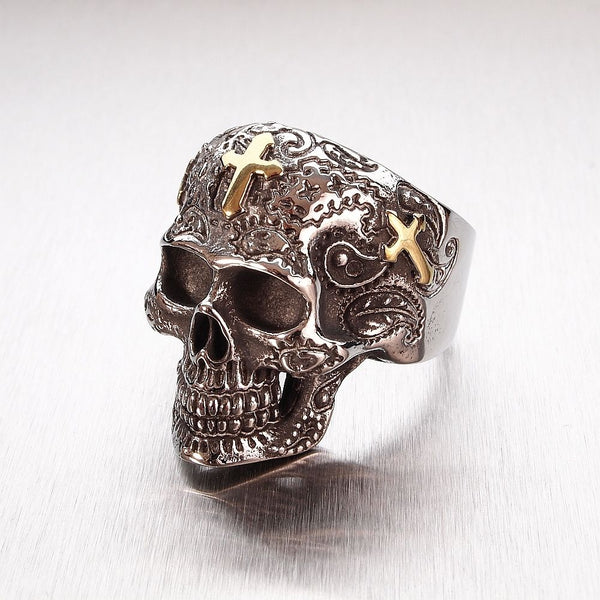Mens Stainless Steel Silver and Gold Tone Carved Mexican Skull Ring - biker-rings.co.uk