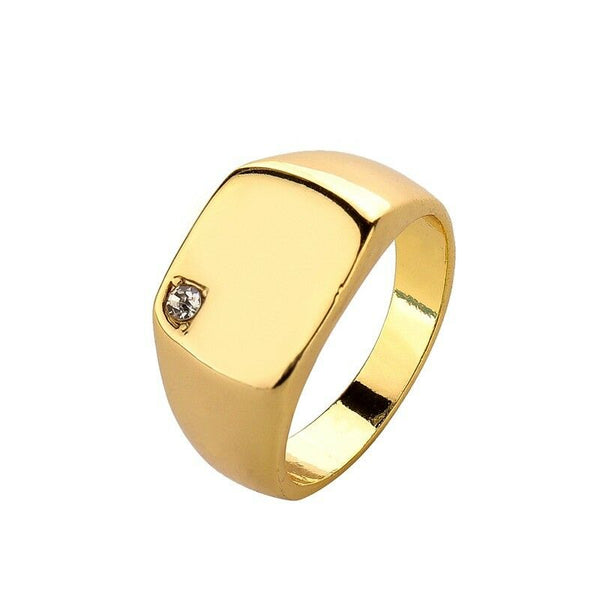 Mens Gold Tone Signet Ring with Clear CZ Stone - biker-rings.co.uk