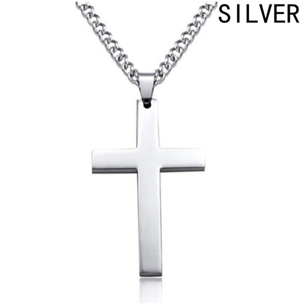 Simple Polished Silver Tone Crucifix Pendant Necklace - biker-rings.co.uk