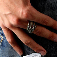 Vintage Silver Stainless Steel Unisex Dragon Claw Ring - biker-rings.co.uk