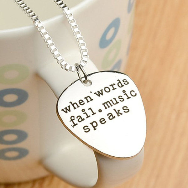 "Unisex Stainless Steel Letters Pendant Necklace ""When Words Fail Music Speaks"" - biker-rings.co.uk"