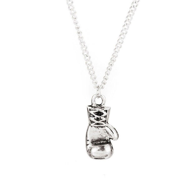 Mens Boys Stainless Steel Silver Single Boxing Glove Pendant Necklace - biker-rings.co.uk